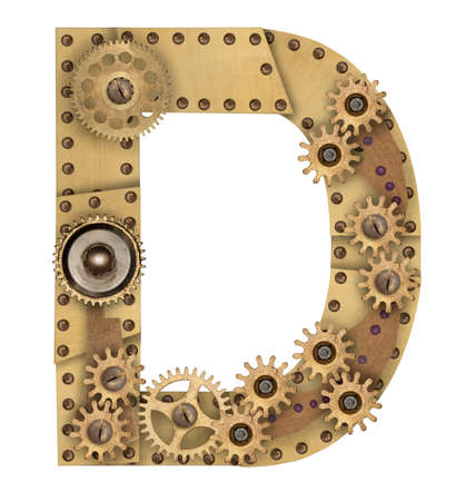 clench: Steampunk mechanical metal alphabet letter D. Photo compilation Stock Photo