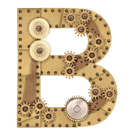 Steampunk mechanical metal alphabet letter B. Photo compilation photo
