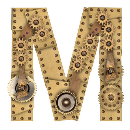 steampunk: Steampunk mechanical metal alphabet letter M. Photo compilation