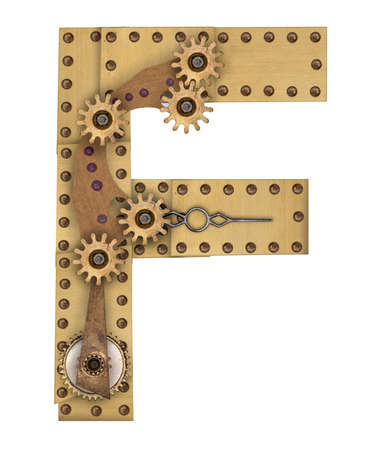 compilation: Steampunk mechanical metal alphabet letter F. Photo compilation