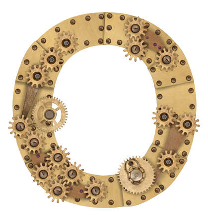 Steampunk mechanical metal alphabet letter O. Photo compilation photo