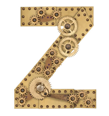compilation: Steampunk mechanical metal alphabet letter Z. Photo compilation