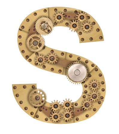 Steampunk mechanical metal alphabet letter S. Photo compilation Archivio Fotografico