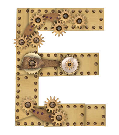 compilation: Steampunk mechanical metal alphabet letter E. Photo compilation Stock Photo