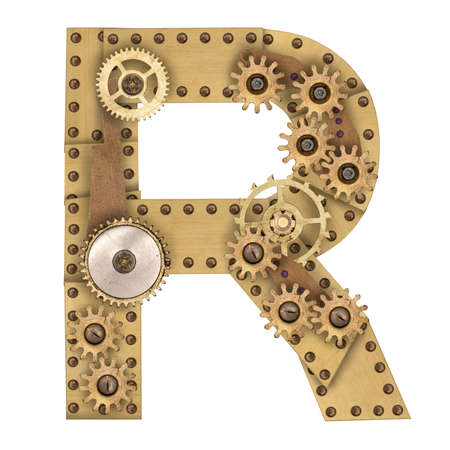 Steampunk mechanical metal alphabet letter R. Photo compilation photo