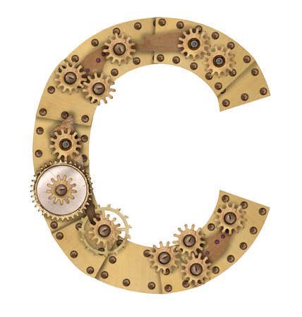 industrialization: Steampunk mechanical metal alphabet letter C. Photo compilation Stock Photo