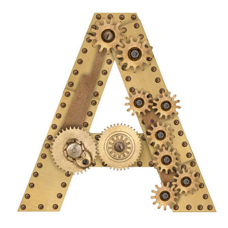 compilation: Steampunk mechanical metal alphabet letter A. Photo compilation