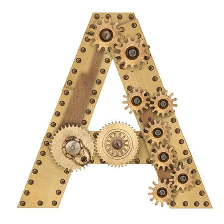 Steampunk mechanical metal alphabet letter A. Photo compilation