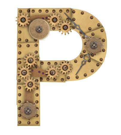 compilation: Steampunk mechanical metal alphabet letter P. Photo compilation