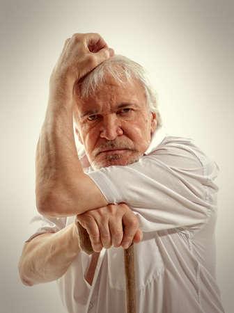 wrinkled: Portrait of a senior man thinking about something