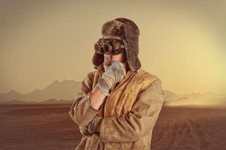 scientist man: Steampunk man wearing glasses. Post-apocalypse fantasy