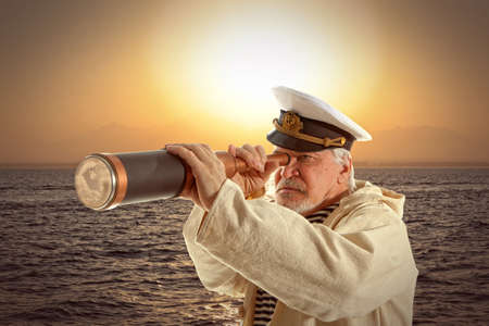 hard to find: Captain looks through a telescope