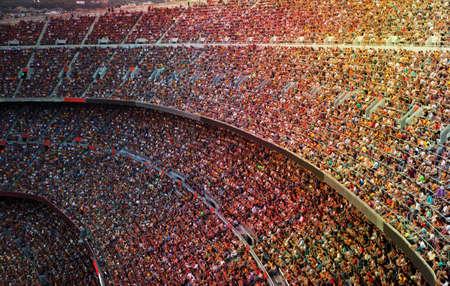 campamento: Los aficionados en el gran estadio de fútbol Foto de archivo