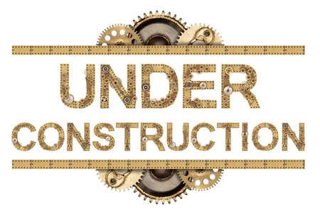 Under construction. Steampunk mechanical metal alphabet Stockfoto
