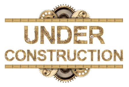 Under construction. Steampunk mechanical metal alphabet Stock Photo