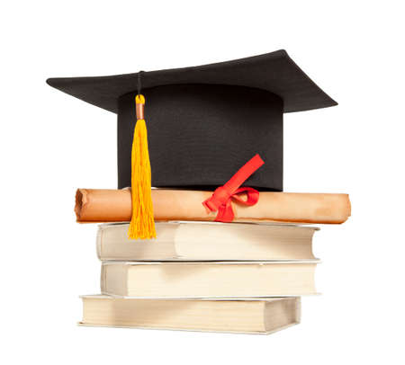 masters degree: Graduation hat, book and diploma isolated on white