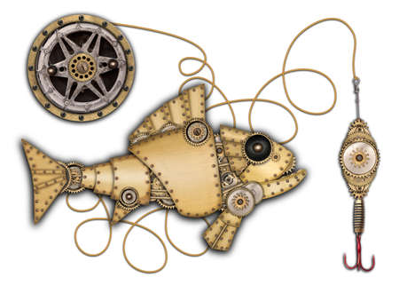 mechanical: Steampunk style. Industrial mechanical fish isolated on white background. Photo compilation Stock Photo