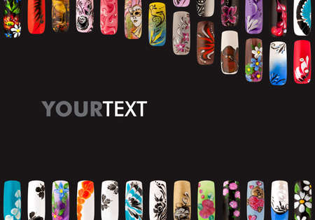Nail art handmade. Colorful nails isolated a black background Banque d'images