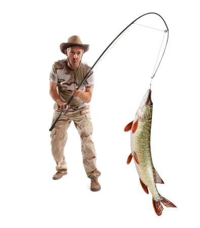 Visser met grote vis - Pike (Esox Lucius) geïsoleerd op wit Stockfoto - 44581671