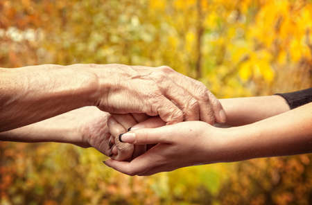 hold on: Autumn. Hands of an elderly senior holding the hand of a younger woman
