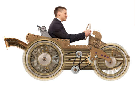 compilation: Young businessman driving fast on a toy car. Steampunk style. Photo compilation