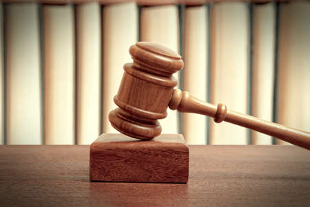 indebted: The gavel of a judge in court Stock Photo