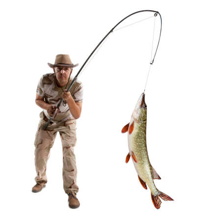 perca: Fisherman with big fish - Pike (Esox Lucius) isolated on white