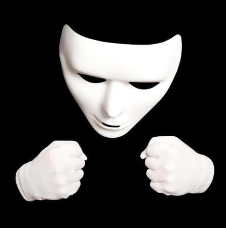 pantomima: Pantomime. White theatrical mask isolated on black