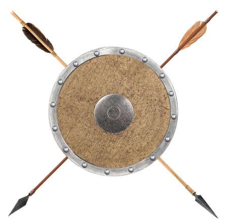 bow arrow: Antique flecha de madera vieja y escudo aislado sobre un fondo blanco Foto de archivo