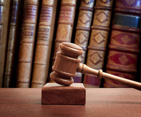 law office: The gavel of a judge in court Stock Photo