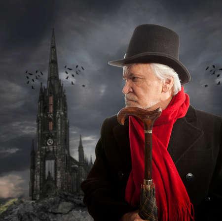 hombre con sombrero: Retrato victoriana de un hombre mayor que piensa en algo