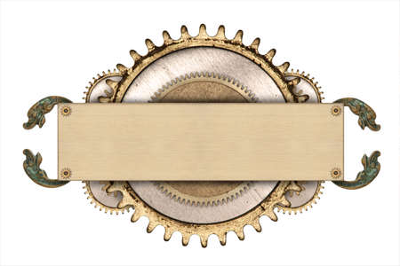 Made of metal frame and clockwork details. Mechanical steampunk collage Standard-Bild