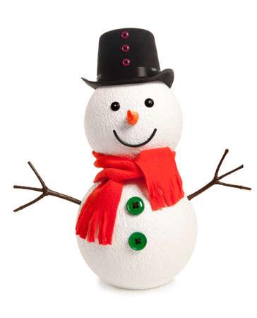 bonhomme de neige: Bonhomme de neige heureux isol� sur fond blanc Banque d'images