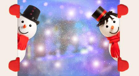 snowman: Happy snowman presenting empty banner