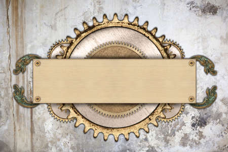 ornate: Made of metal frame and clockwork details. Mechanical steampunk collage Stock Photo