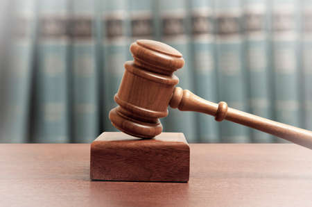 offense: The gavel of a judge in court Stock Photo