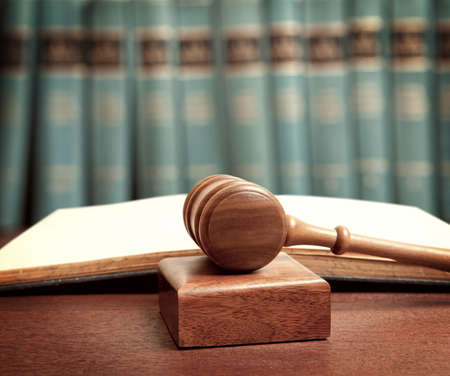 judge: The gavel of a judge in court Stock Photo