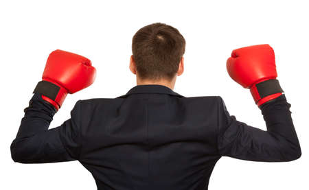 red hand: Businessman in red boxing gloves isolated on white background
