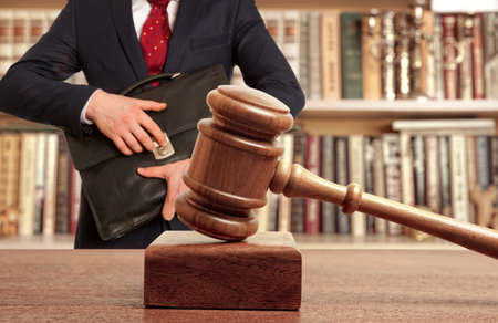 courtroom: Caucasian lawyer in court. Law concept Stock Photo