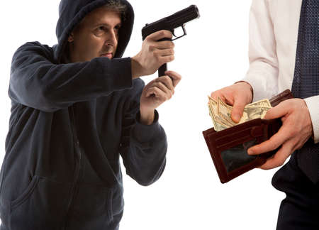 robbery: Robbery by businessman isolated on white background Stock Photo