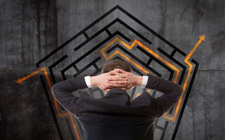 difficult mission: Business concept. Back view of businessman looking at a maze on wall Stock Photo