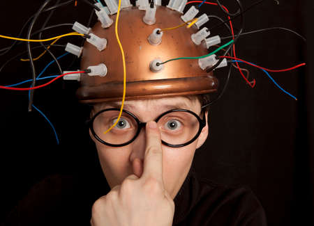 inventor: Crazy inventor helmet for brain research Stock Photo