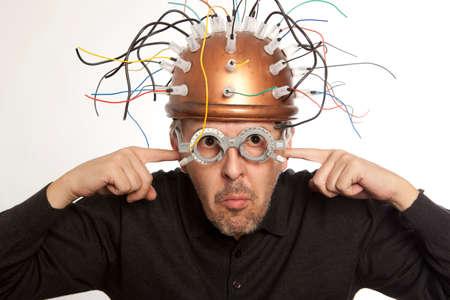 Crazy inventor helmet for brain research Archivio Fotografico