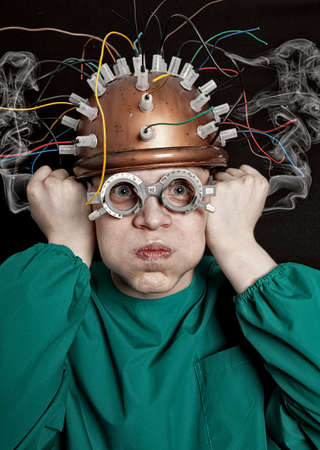 inventor: Crazy inventor with helmet for brain research