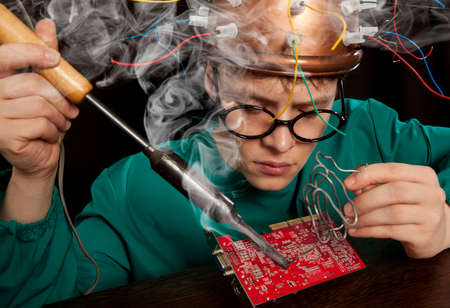 inventor: Crazy inventor with soldering iron