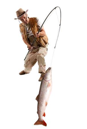 the big fish: Fisherman with big fish - salmon isolated on white