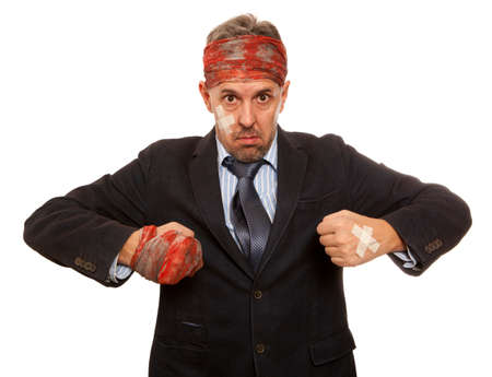 bruised: Businessman with bruised head, funny businessman