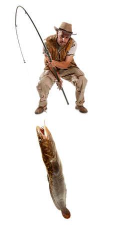 codfish: Fisherman with big fish - burbot, codfish (Lota lota) isolated on white Stock Photo