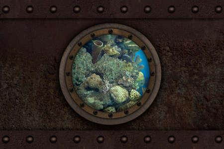 armoring: Submarine armoured porthole metal background