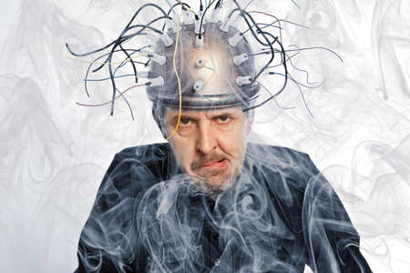 inventor: Crazy inventor of a helmet for brain research Stock Photo